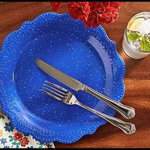 5 Pioneer Woman Cobalt Blue Dinner Plates Speckled